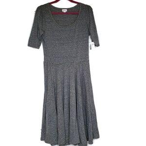 Lularoe Nicole Fit N Flare Dress Gray Size L
